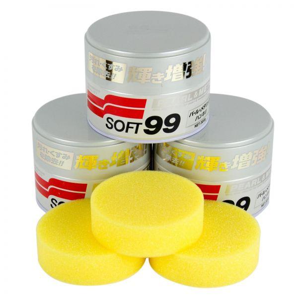3x SOFT99 Pearl & Metallic Soft Wax Wachs Lackversiegelung 320 g + Schwamm