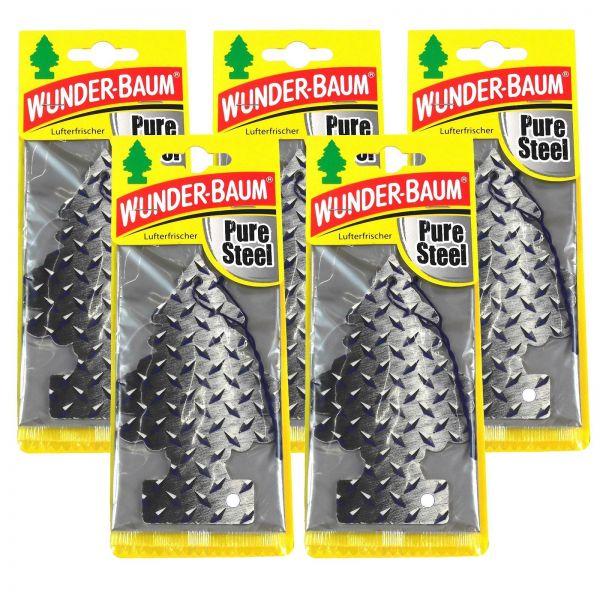 5x WUNDERBAUM Pure Steel Orginal Lufterfrischer Duftbaum Fahrzeugduft 1 Stk