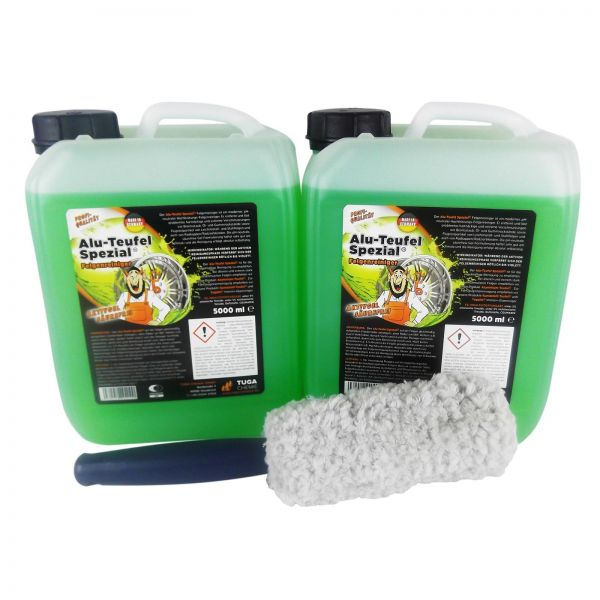 2x TUGA Aluminium-Teufel Alu-Teufel Felgenreiniger Gel 5 kg & Felgenbürste 1 Stk