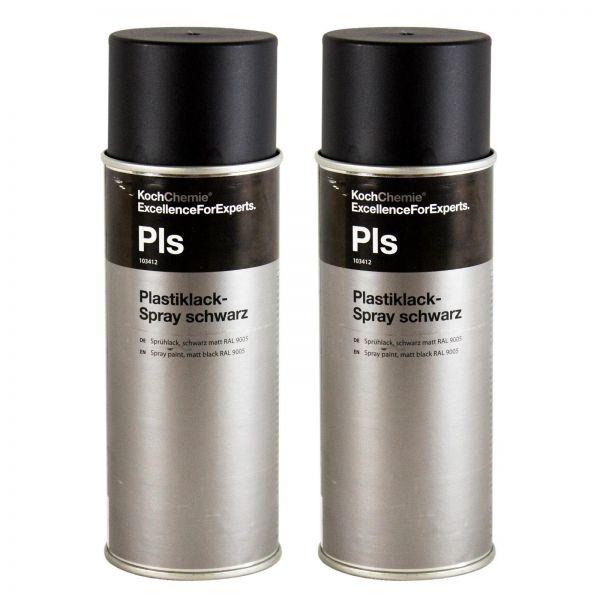 2x KOCH CHEMIE Plastiklack-Spray Sprühlack Lackspray schwarz matt RAL 9005 400ml