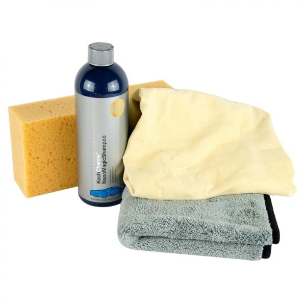 KOCH CHEMIE Nano Magic Shampoo Autoshampoo & Fensterleder & Schwamm & Tuch