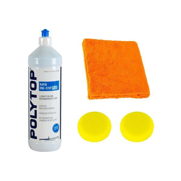 POLYTOP RAPID One-Step 1-Schritt Politur 1 L & 2x Pads 80/20 mm & Mikrofasertuch