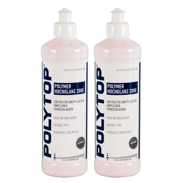 2x POLYTOP Polymer Hochglanz 2000 Politur Glanzpolitur Lackpolitur 500 ml