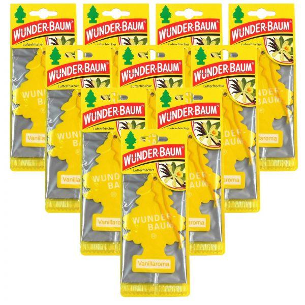 10x WUNDERBAUM Vanillaroma Orginal Lufterfrischer Duftbaum Fahrzeugduft 1 Stk