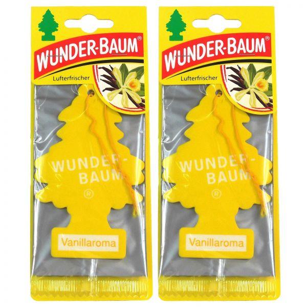 2x WUNDERBAUM Vanillaroma Orginal Lufterfrischer Duftbaum Fahrzeugduft 1 Stk