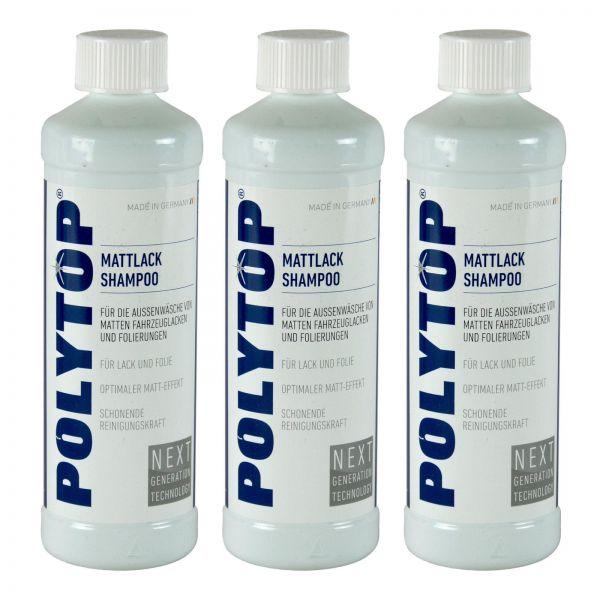 3x POLYTOP Mattlack Shampoo Autoshampoo Lackreiniger Lackreinigung Wäsche 500 ml
