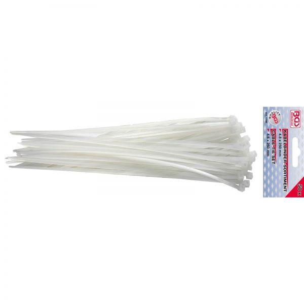 BGS Kabelbinder-Sortiment weiß 4,8 x 250 mm 50-tlg.
