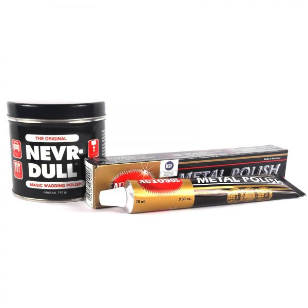 1x NEVR DULL Polierwatte 142 g + 1x AUTOSOL Metal Polish 75 ml