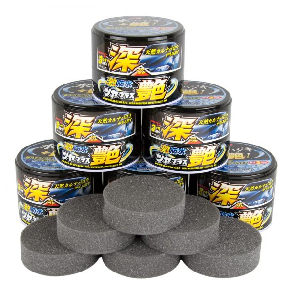 6x SOFT99 Water Block Wax Gloss Black Wachs Autowachs Carnauba 200 g + Schwamm