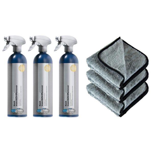 3x KOCH CHEMIE Insect&Dirt Remover Insektenentferner 750 ml & P4C Mikrofasertuch