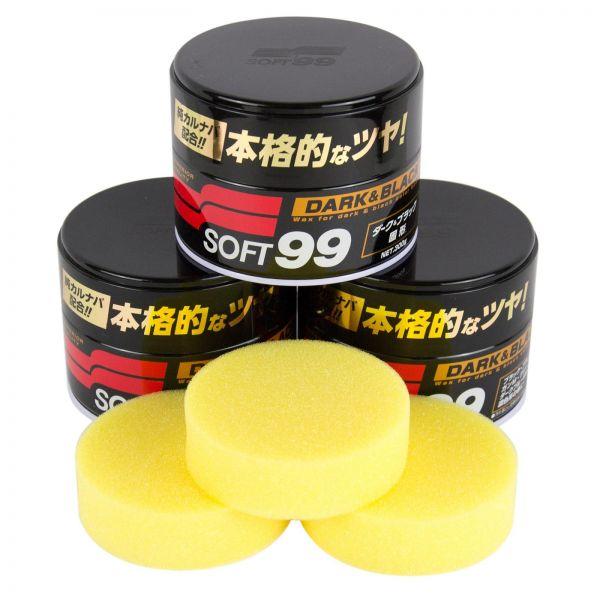 3x SOFT99 Dark & Black Wax Wachs Hartwachs Lackversiegelung 300 g + Schwamm