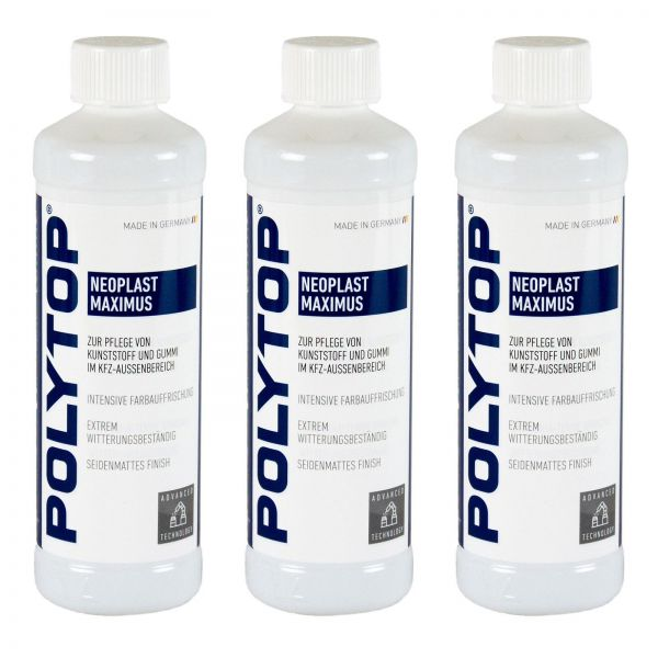 3x POLYTOP Neoplast Maximus Kunststoffpflege Kunststoff Gummipflege 500 ml