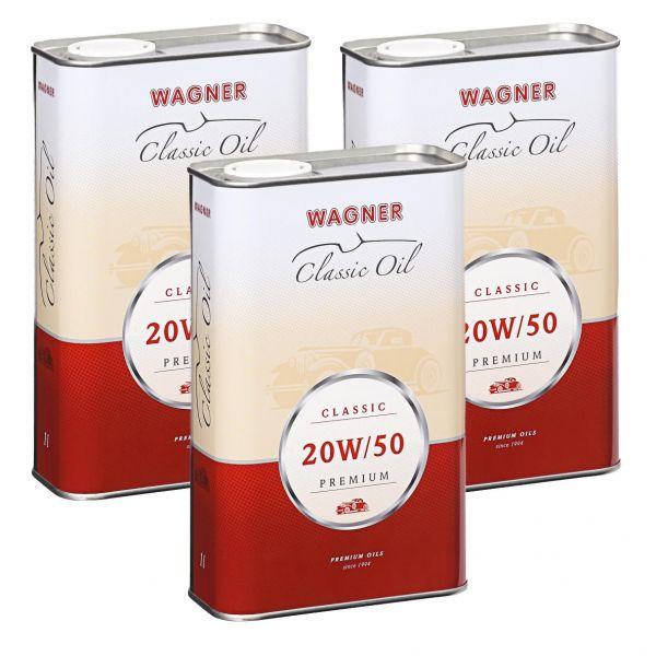 3x WAGNER SPEZIALSCHMIERSTOFFE Hochleistungs-Motoröl SAE 20W/50 Premium 5 L