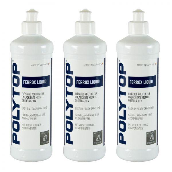 3x POLYTOP Ferrox Liquid Politur Metallpolitur Chrompolitur Edelstahl 500 ml