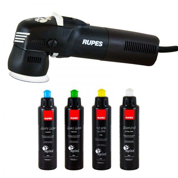 RUPES BigFoot Exzenter Poliermaschine 12 mm Hub LHR 75E & Rupes Polituren 250 ml