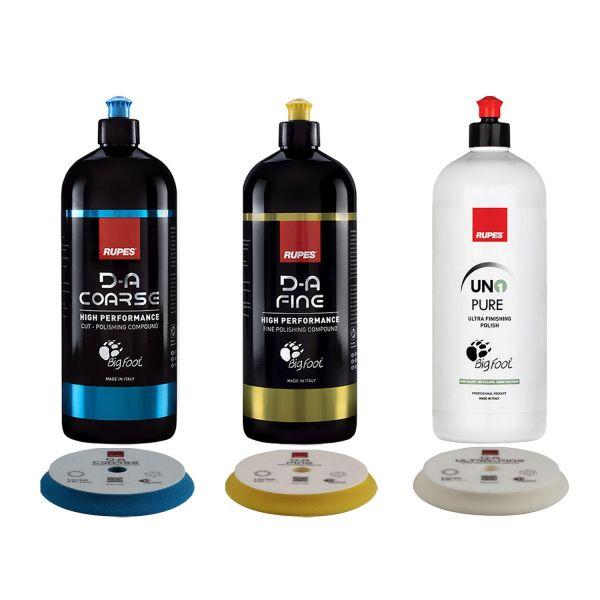 RUPES DA Fine & DA Coarse & Uno Pure Politur 1 L & 3x Polierpads Pads 150-180 mm