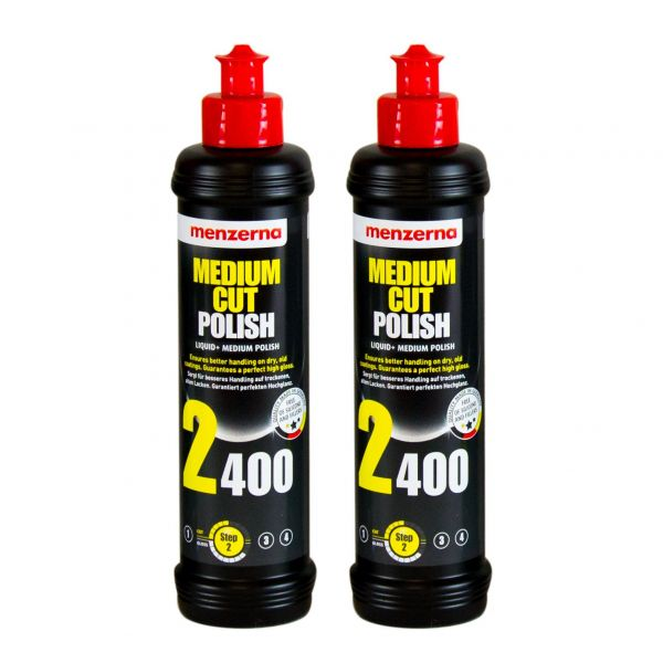 2x MENZERNA Medium Cut Polish 2400 Schleifpolitur Politur Schleifpaste 250 ml