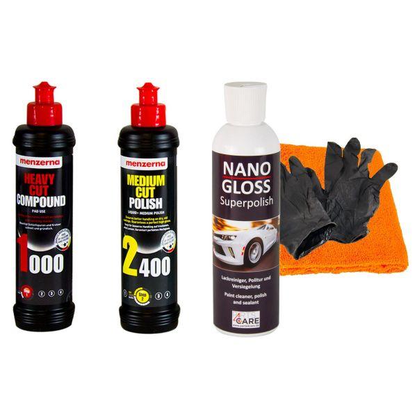 MENZERNA Heavy, Medium Politur & NANOGLOSS Versiegelung 250ml & Tuch & Handschuh