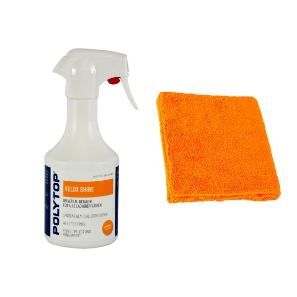 POLYTOP Velox Shine Universal-Detailer Lackreiniger 500 ml & P4C Mikrofasertuch