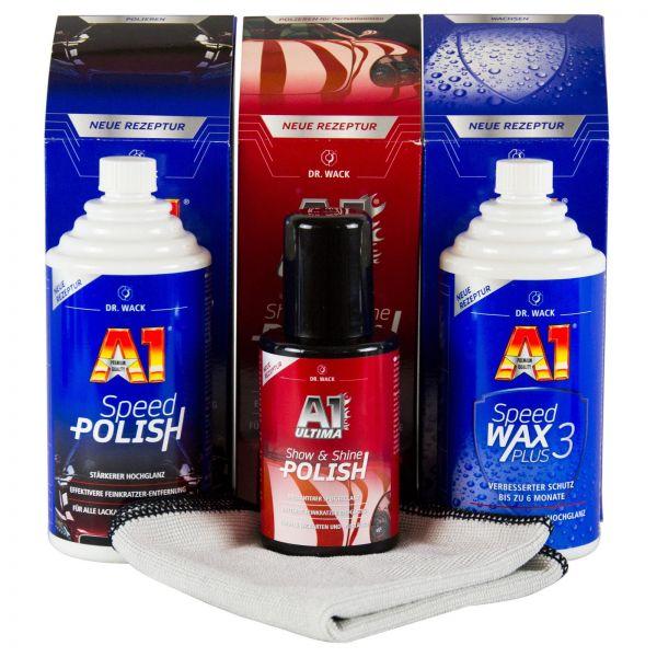 DR. WACK A1 Speed Polish Politur & Speed Wax Plus 3 Wachs & Ultima Show & Shine