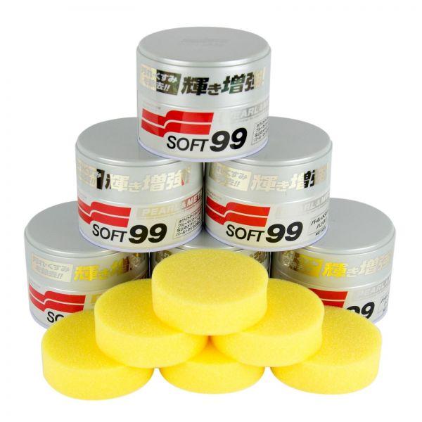 6x SOFT99 Pearl & Metallic Soft Wax Wachs Lackversiegelung 320 g + Schwamm
