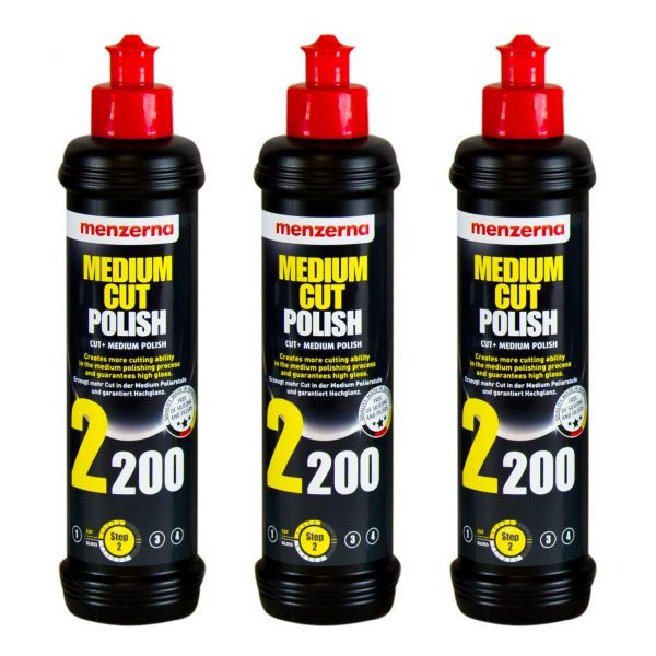 3x MENZERNA Medium Cut Polish 2200 Schleifpolitur Politur Schleifpaste 250 ml