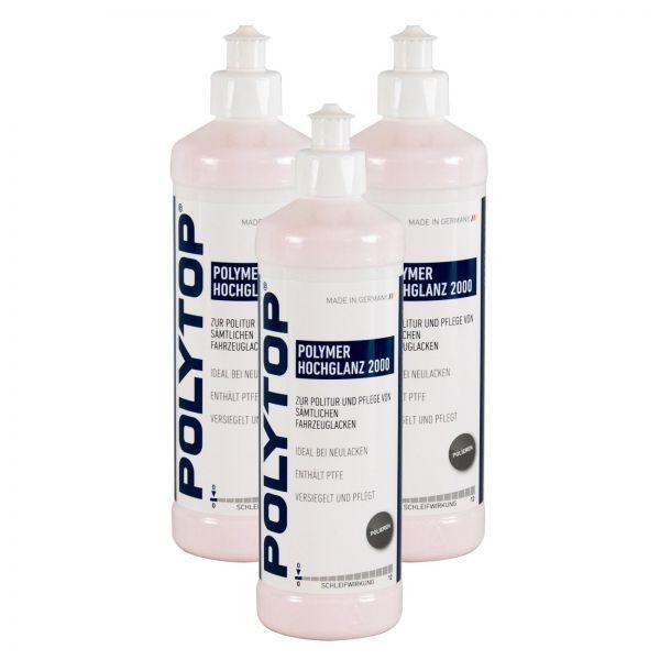 3x POLYTOP Polymer Hochglanz 2000 Politur Glanzpolitur Lackpolitur 500 ml