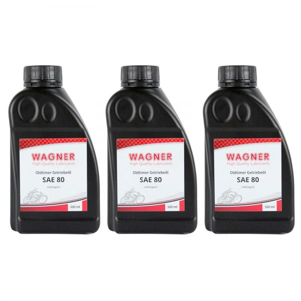 3x WAGNER SPEZIALSCHMIERSTOFFE Getriebeöl Oldtimer-Getriebeöl SAE 80 500 ml