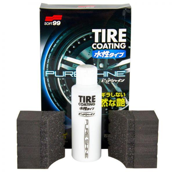 SOFT99 Tire Coating Pure Shine Reifenglanz Versiegelung 100 ml + 2x Schwamm