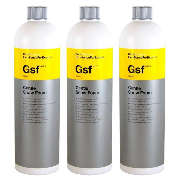 3x KOCH CHEMIE Gsf Gentle Snow Foam Reinigungsschaum pH-neutral 1 L Liter