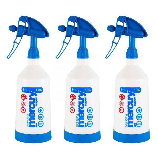 3x KWAZAR Mercury Super Pro+ 360 Grad Viton Sprühflasche Flasche blau 1 L Liter