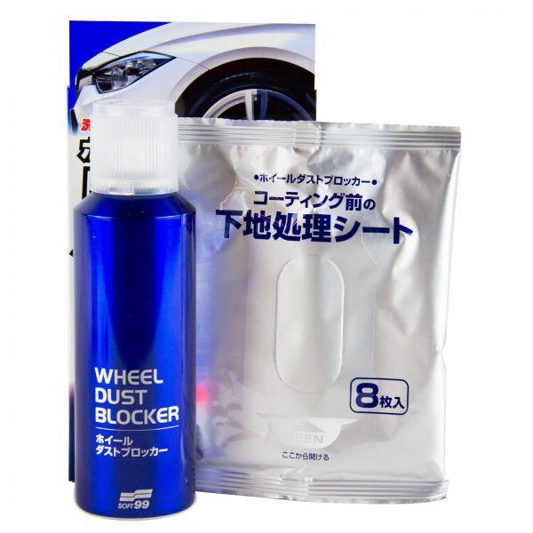 SOFT99 Wheel Dust Blocker Felgenreiniger Felgenversiegelung 200 ml + Tücher