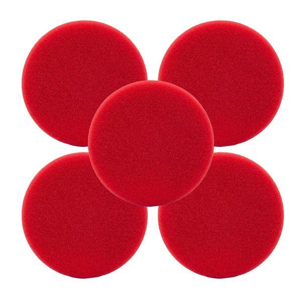 5x LIQUID ELEMENTS Polierpad Polierschwamm Polierscheibe rot hart 150/25 mm