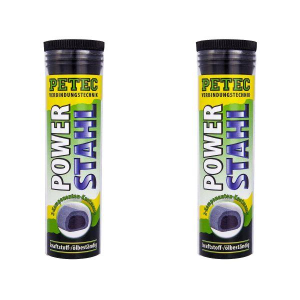 2x PETEC Metallkleber Power Stahl Knetmasse Klebstoff Flüssig Metall Kleber 50 g