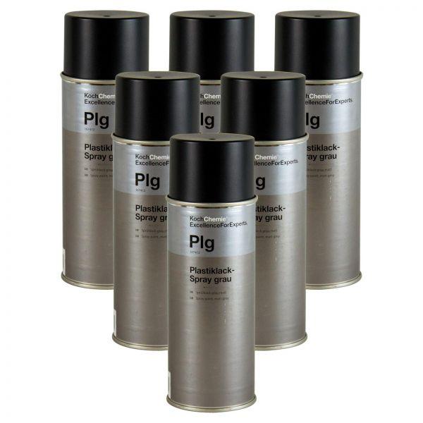 6x KOCH CHEMIE Plastiklack-Spray Sprühlack Lackspray Farbspray grau matt 400 ml