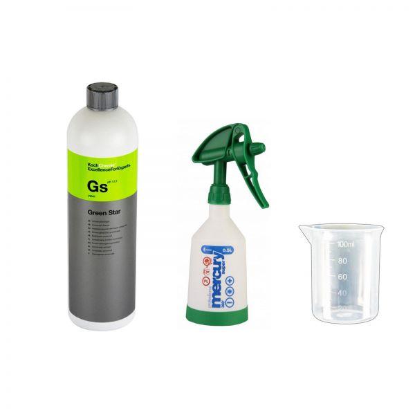 KWAZAR Super Pro+ Sprühflasche grün 0,5 L & Koch Green Star 1L & Messbecher