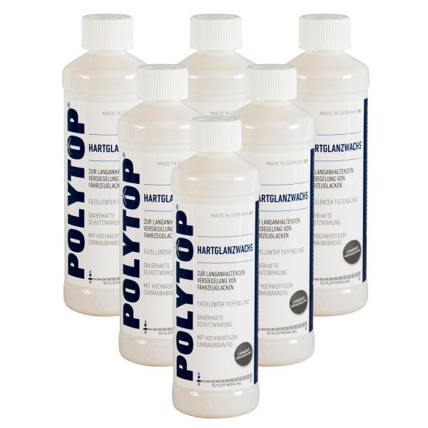 6x POLYTOP Hartglanzwachs Wachs Wax Versiegelung mit Carnaubawachs 500 ml
