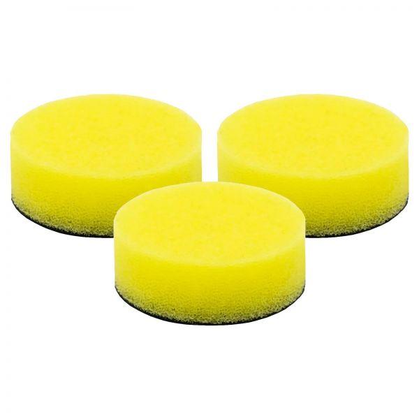 3x LIQUID ELEMENTS Polierpad Polierschwamm Polierscheibe gelb mittel 40/15 mm