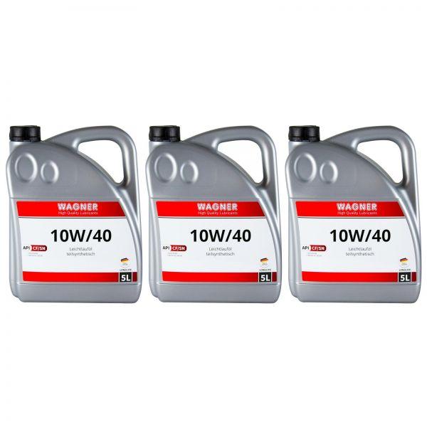 3x WAGNER SPEZIALSCHMIERSTOFFE Motorenöl Leichtlauföl SAE 10W/40 5 L Liter