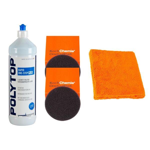 POLYTOP RAPID One-Step Politur 1 L & 2x One Cut Pads 150/23 mm & Mikrofasertuch
