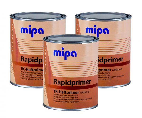 3x MIPA Rapidprimer 1K-Haftprimer rotbraun Grundierung Primer Rostschutz 1 L