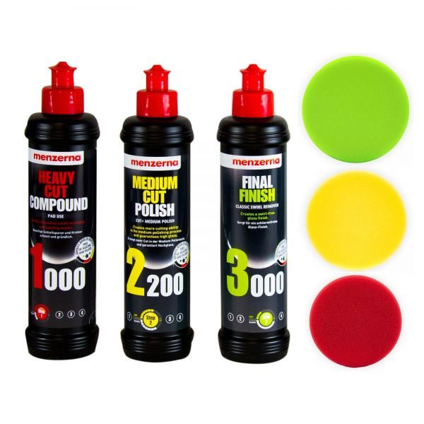 MENZERNA Heavy 1000 & Medium 2200 & Finish 3000 Politur & Polierpads 125/25 mm