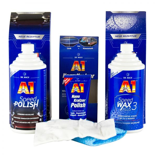 DR. WACK A1 Speed Polish 500 ml & Speed Wax Plus 3 500 ml & Nano Kratzer Polish