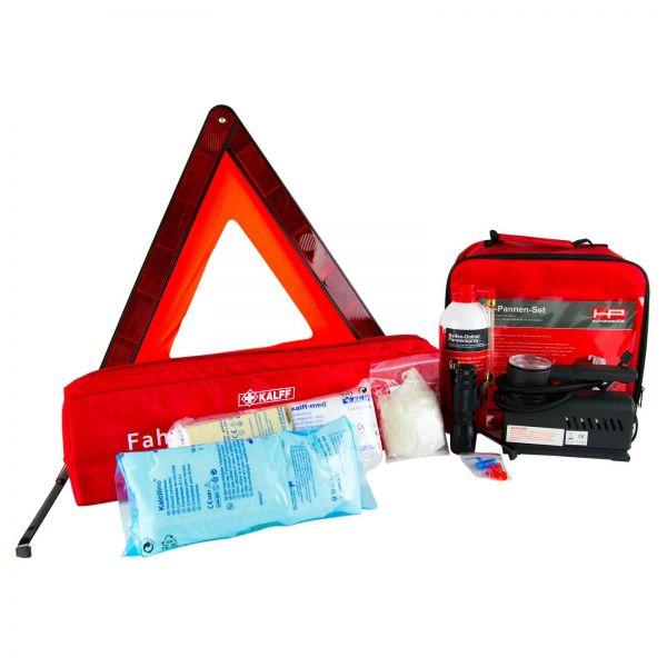 KALFF Fahrzeug-Sicherheitsset Warndreieck + Verbandkasten & Reifenpannenset