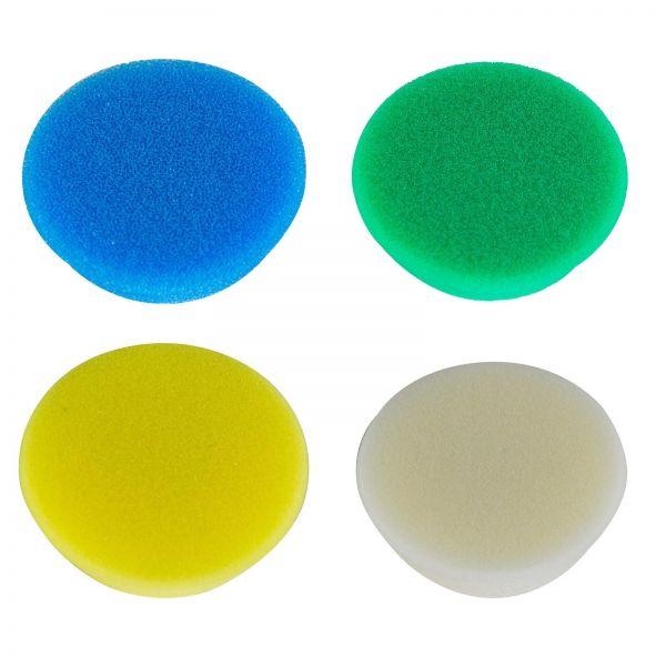 RUPES Polierpad SET Polierscheiben weiss, grün, gelb und blau 50-70mm