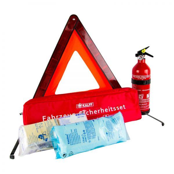 KALFF Fahrzeug-Sicherheitsset Warndreieck + Verbandkasten & Pulver Feuerlöscher