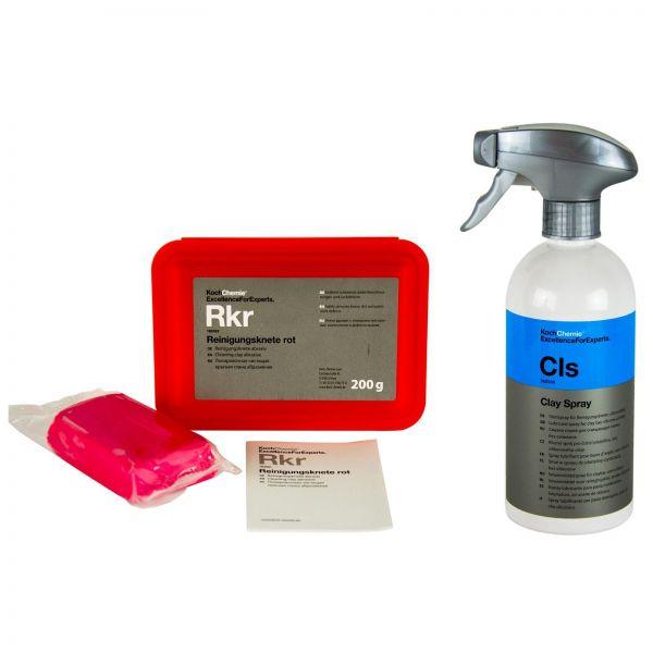 KOCH CHEMIE Reinigungsknete rot abrasiv 200 g & Cls Clay Spray Gleitspray 500 ml