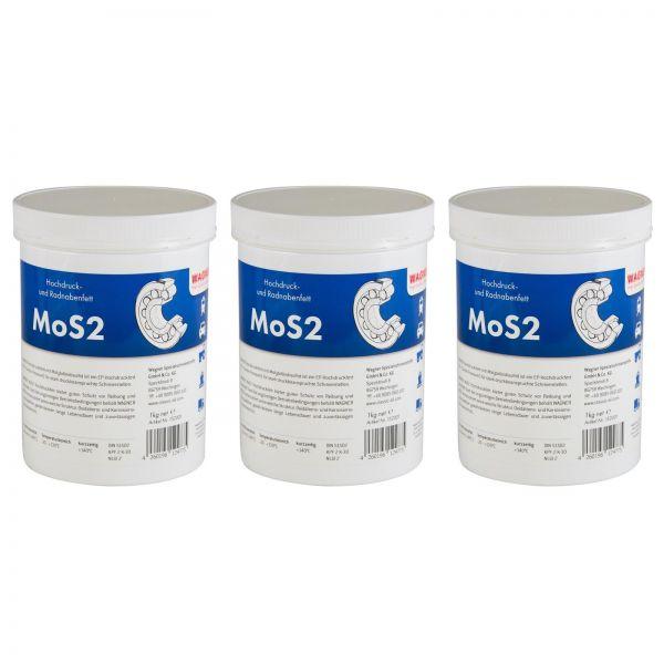 3x WAGNER SPEZIALSCHMIERSTOFFE MoS2 Hochdruckfett Radnabenfett Fett 1 Kg