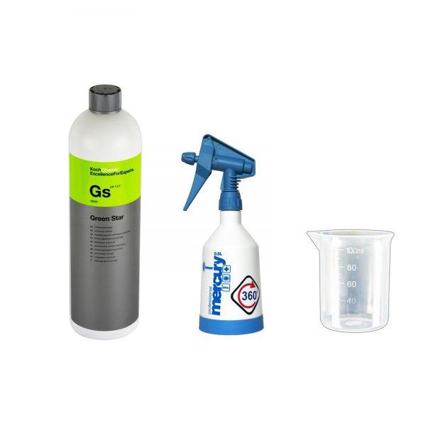 KWAZAR Super Pro+ Sprühflasche blau 0,5 L & Koch Green Star 1 L & Messbecher