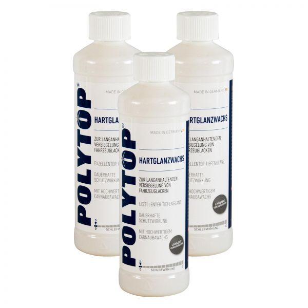 3x POLYTOP Hartglanzwachs Wachs Wax Versiegelung mit Carnaubawachs 500 ml